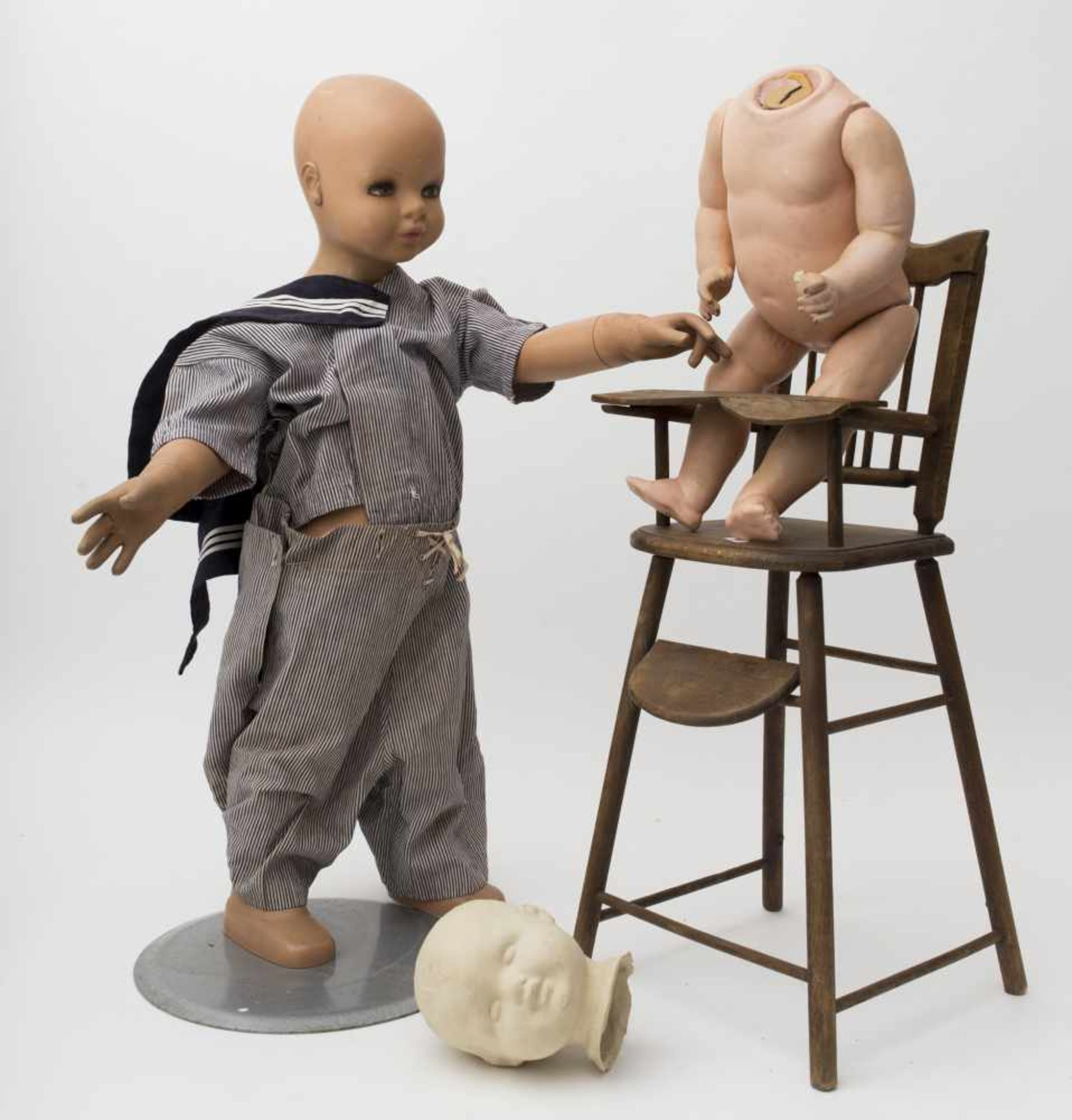 Exhibition model from the 50', Sailor's outfit, H=77cm. German baby doll body with fixed limbs, H=