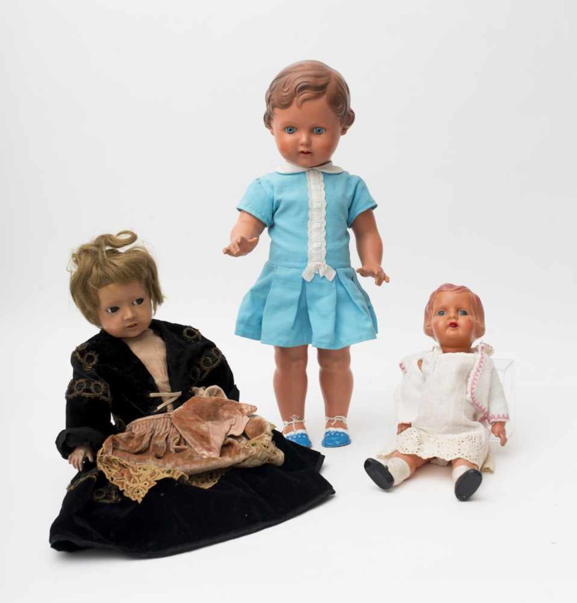 Set of 3 dolls Two made of celluloid, of German make, and one with a celluloid (Turtle mark) head