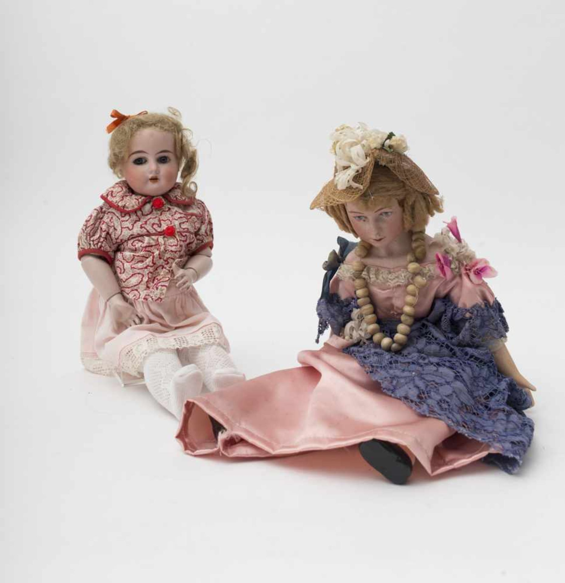 """German doll With biscuit head, open mouth, branded """"8/0"""", fixed blue eyes, articulated body – 1930's"""