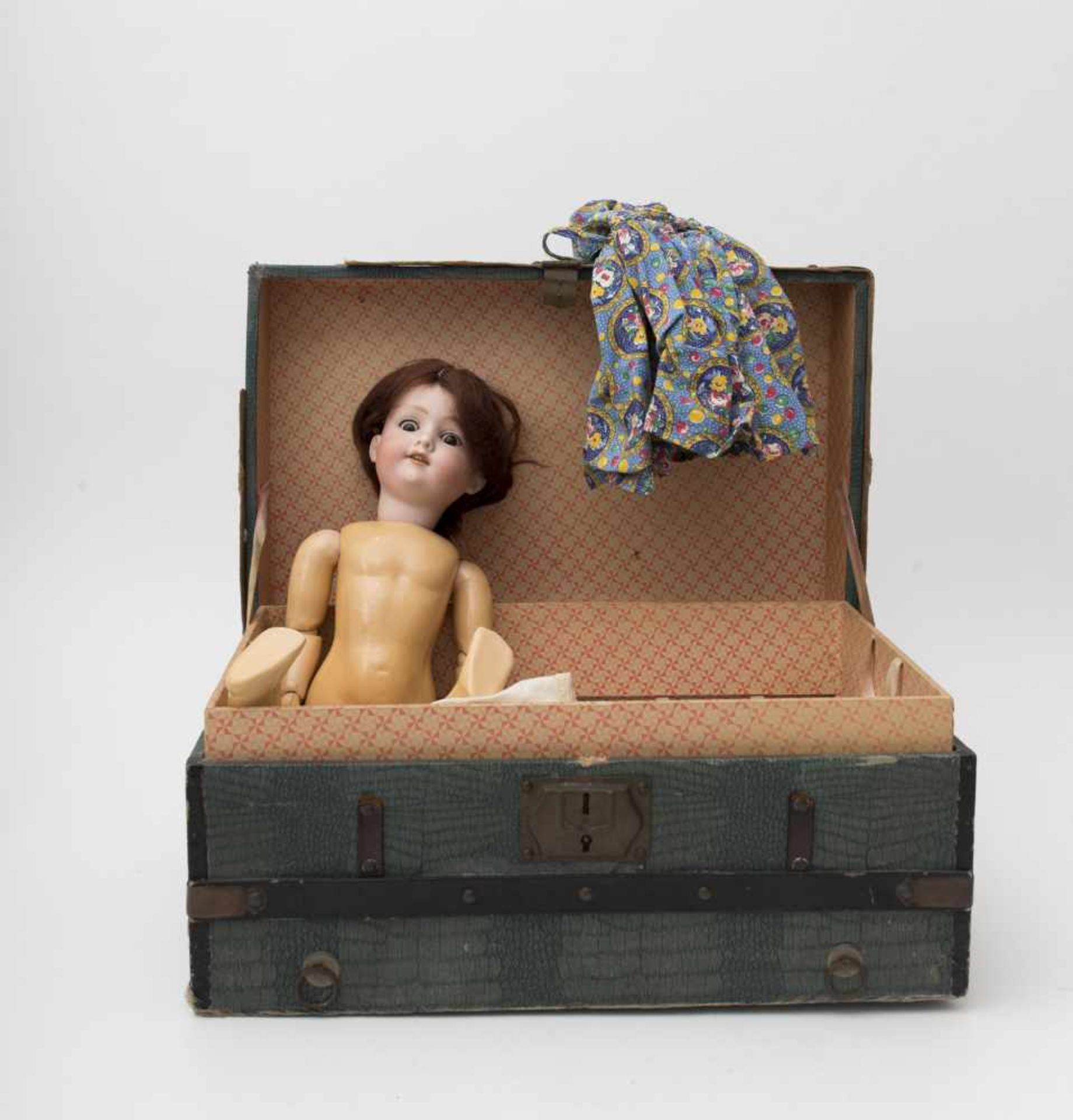 """Doll With biscuit head, open mouth, branded """"AM 390"""", brown sleeping eyes, Toddler-type"""
