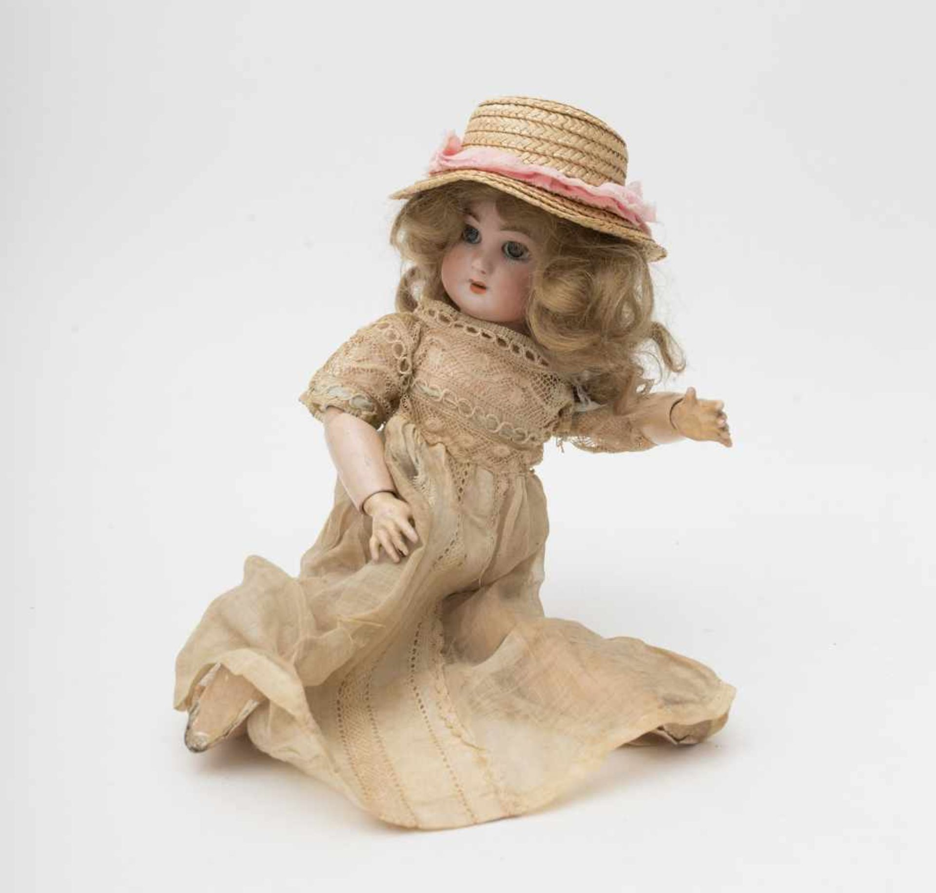 """SFBJ doll With biscuit head, open mouth, branded """"DEP"""", size 2, articulated SFBJ body, H=30cm."""