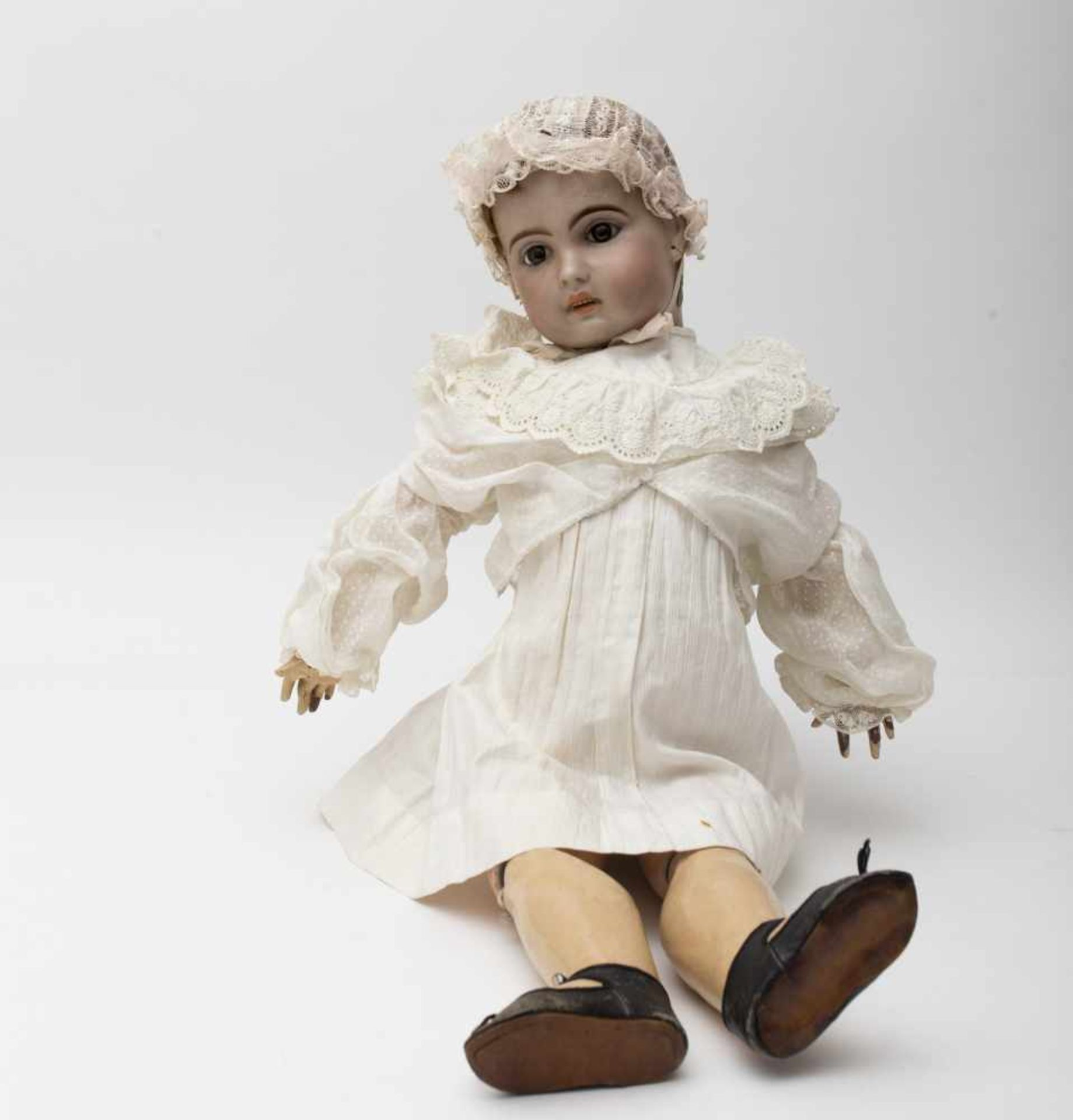 """SFBJ baby doll With cast biscuit head, open mouth, branded """"1907"""", fixed brown eyes, original"""