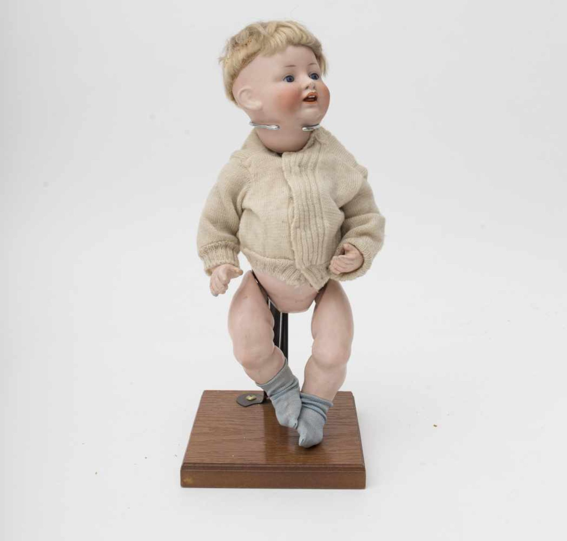 """German character baby doll Made of biscuit, open mouth, branded """"FS and Cie 1272/32"""", blue"""