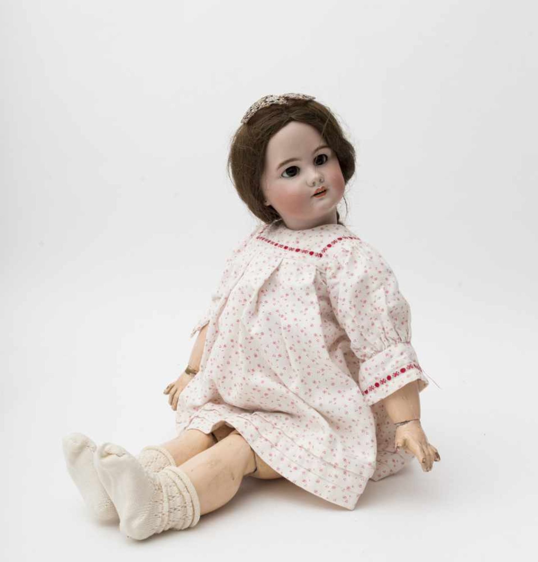 "SFBJ doll With biscuit head, open mouth, branded ""DEP"", size 11, brown sleeping eyes, original"