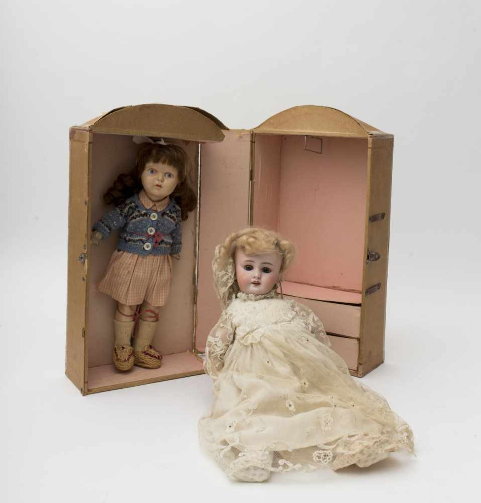 """SFBJ doll With biscuit head, open mouth, branded """"DEP"""", size 6, blue sleeping eyes, original"""
