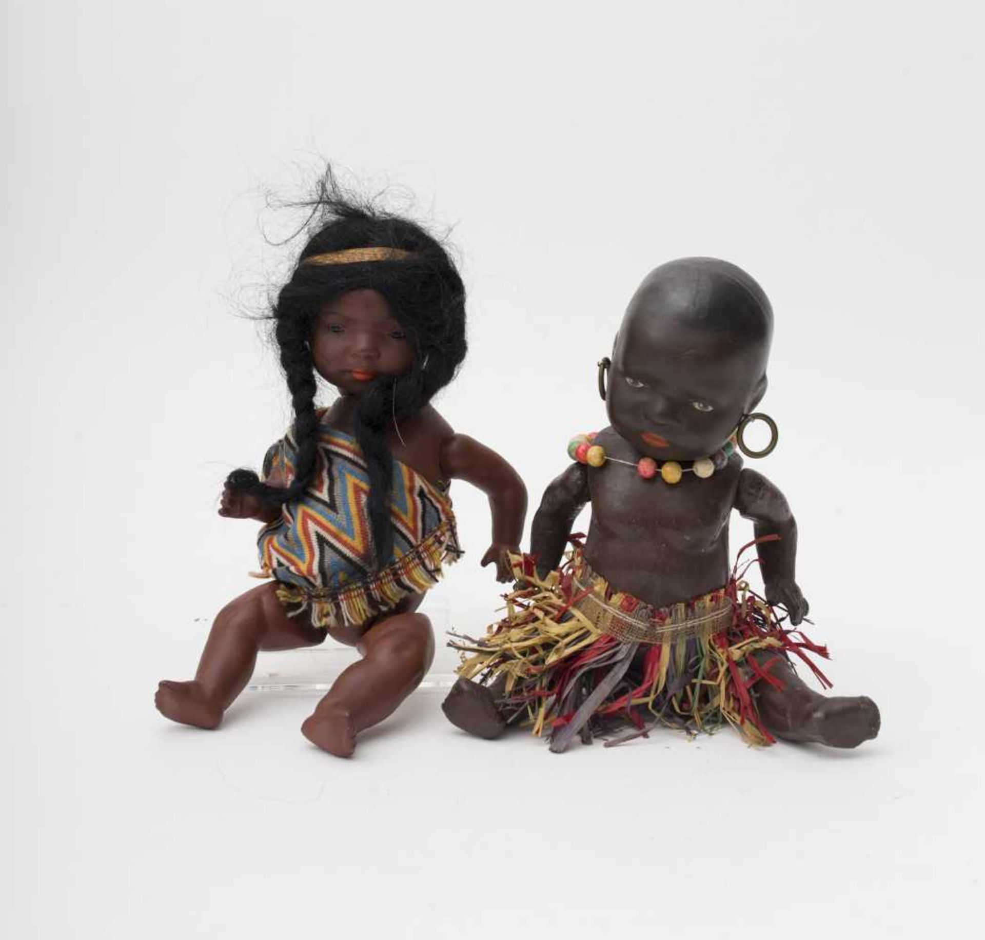 Little black baby And little Indian baby, one with restored head, the other of HEUBACH make, H=