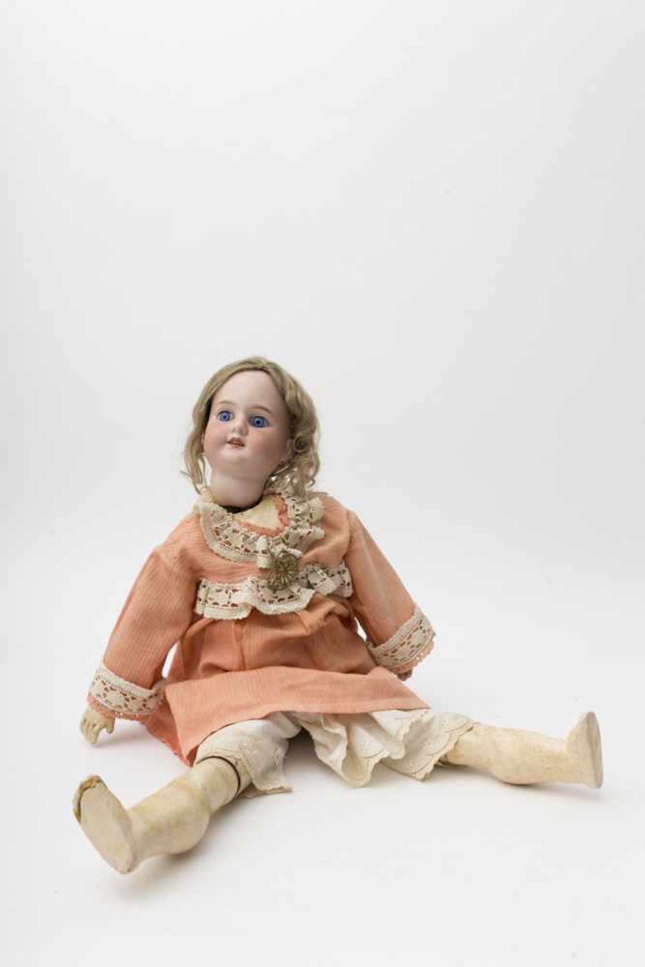 """German doll With biscuit head, open mouth, branded """"1894 AM DEP"""", size 10, fixed blue eyes (crack in"""