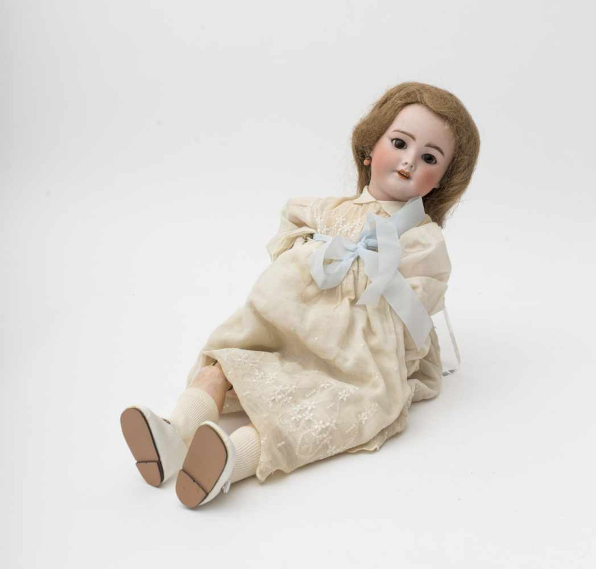 """Doll With biscuit head, open mouth, branded """"SFBJ 301 PARIS"""", size 8, brown sleeping eyes, walking"""