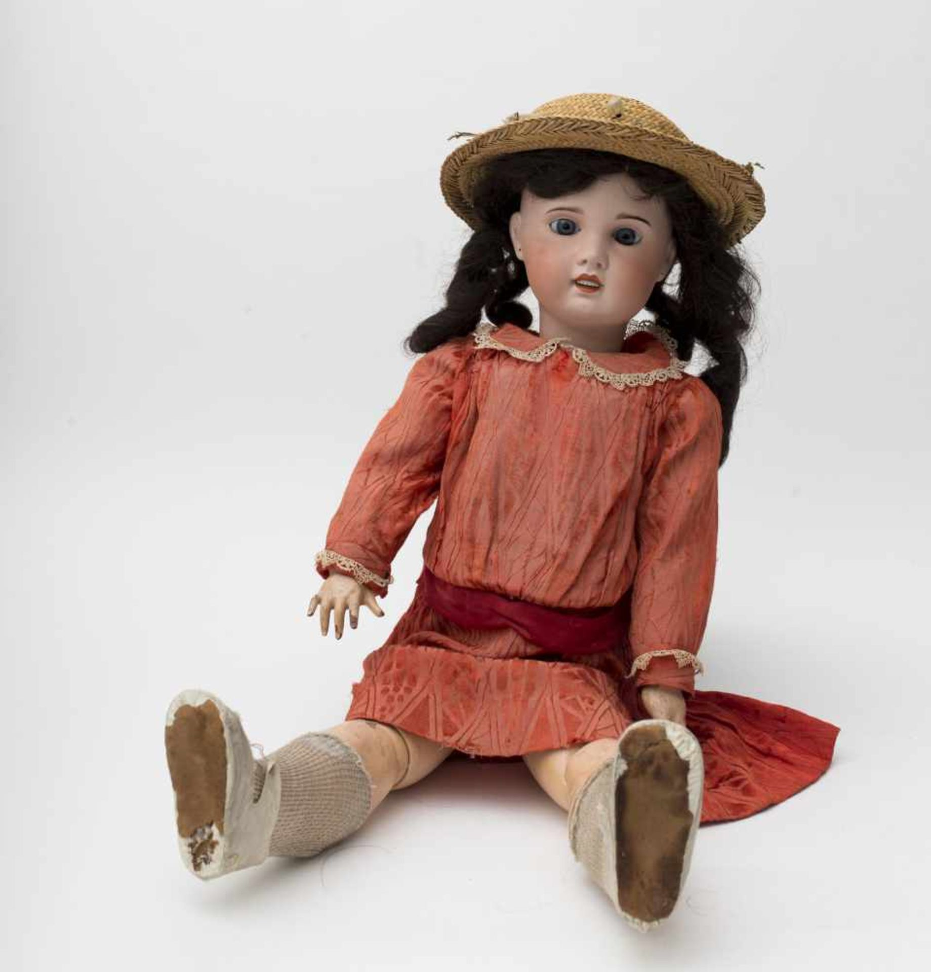 """SFBJ doll With biscuit head, open mouth, branded """"SFBJ PARIS"""" size 13, vintage 22, eyes"""