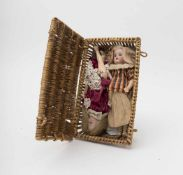 Wicker basket With lid, containing 2 dolls, biscuit head, open mouth, composition body, German make,