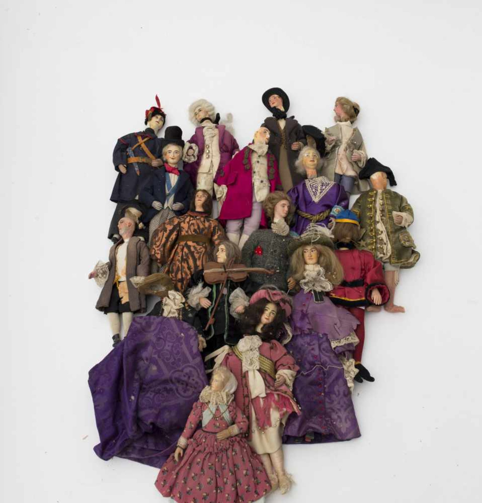 Set of 17 theatre characters In 18th – 19th century style, H=15 to 22cm. Heads made of carved wood