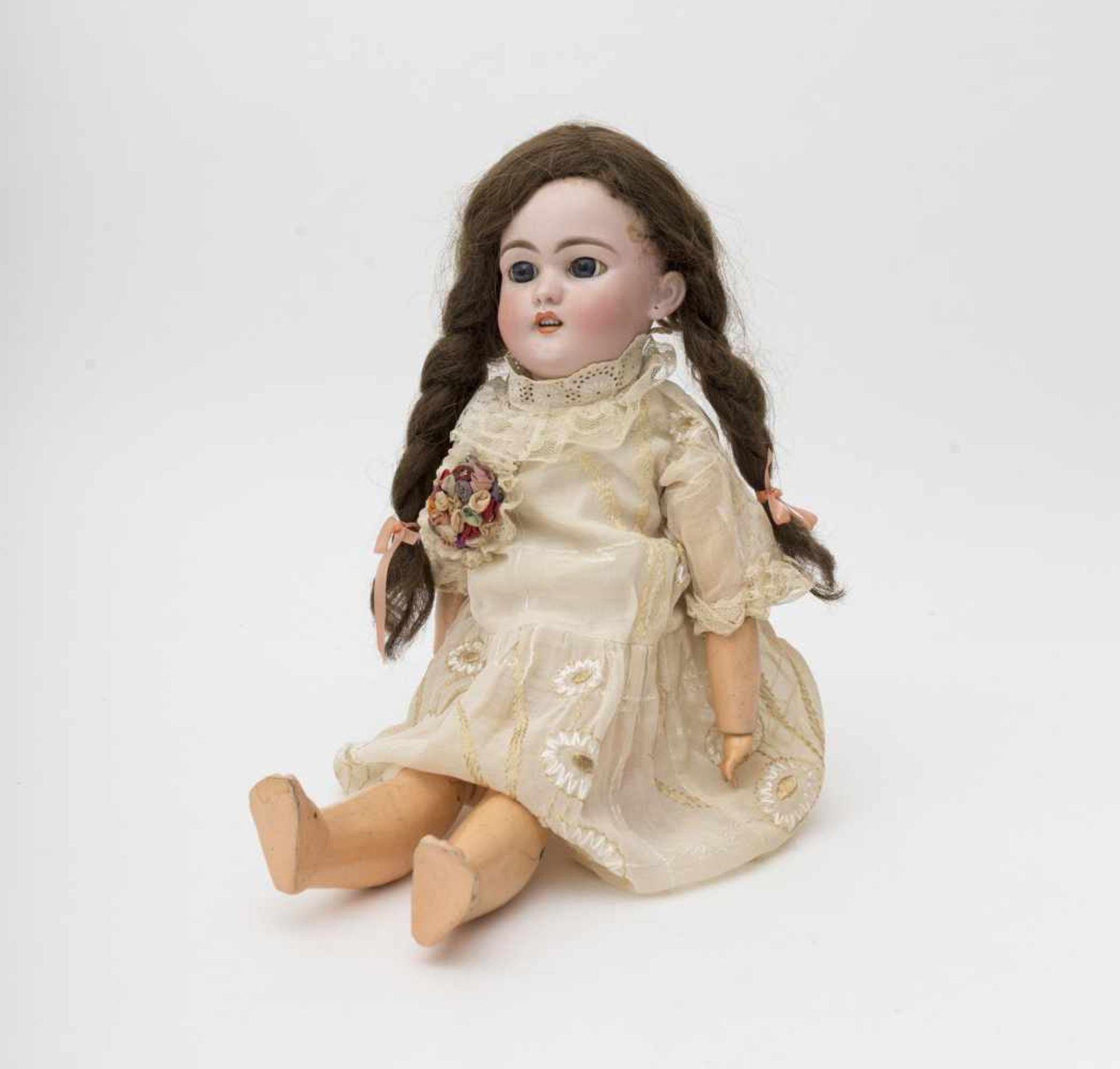 """German doll With biscuit head, open mouth, branded """"S & H 1079 DEP"""", size 8 ½, reattached blue eyes,"""