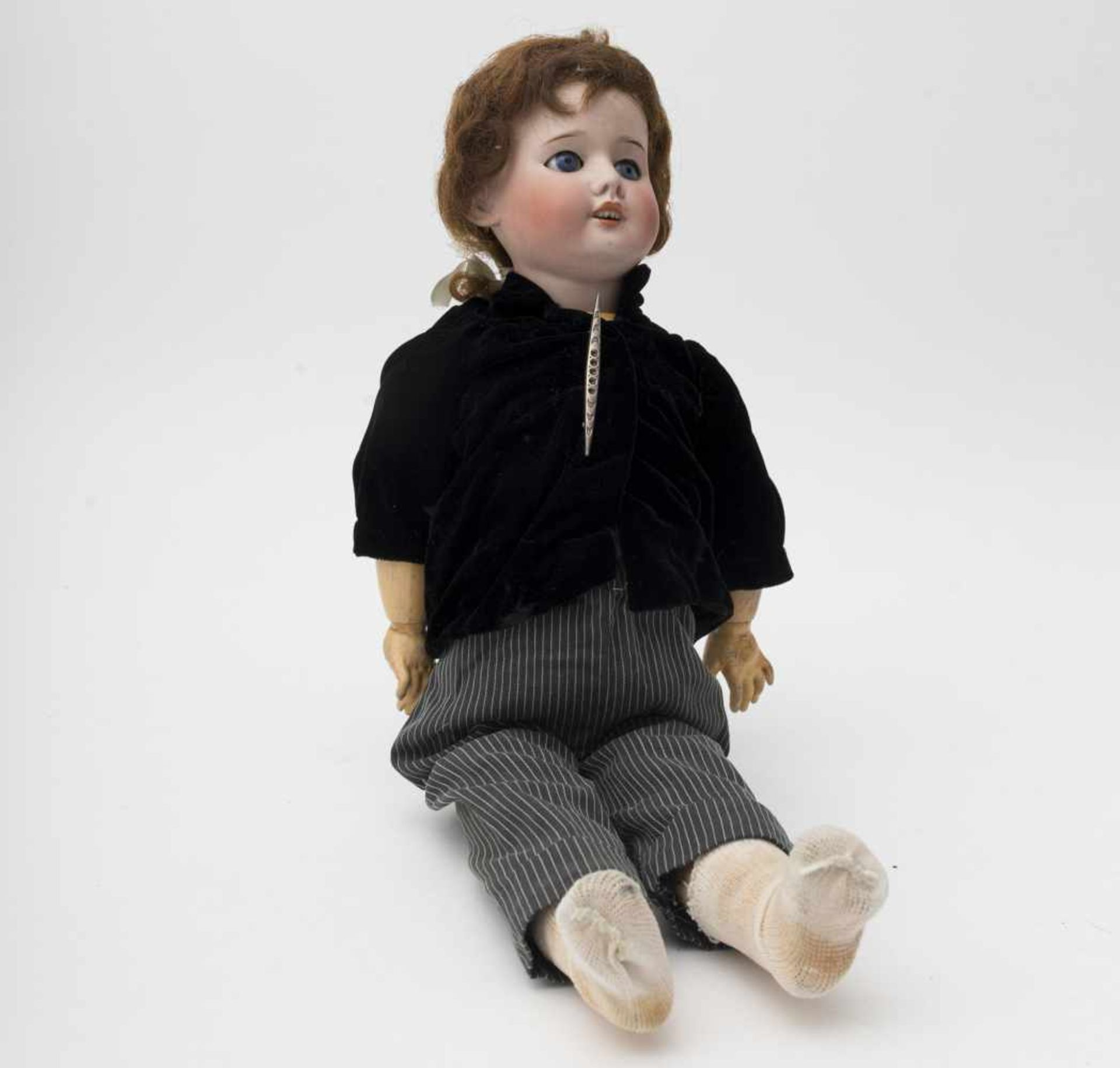 """SFBJ doll With biscuit head, open mouth, branded """"SFBJ 60"""", size 3, blue sleeping eyes, manual"""