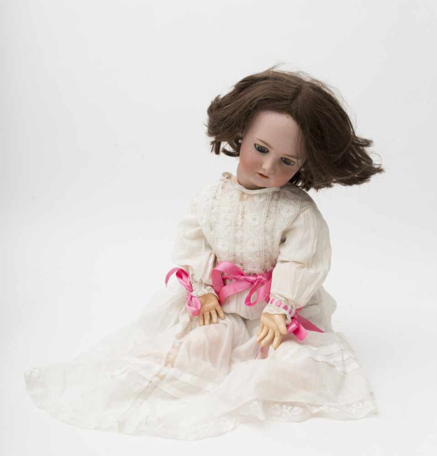 """German doll With biscuit head, open mouth, branded """"SIMON & HALBIG 1078"""", size 13, blue sleeping"""