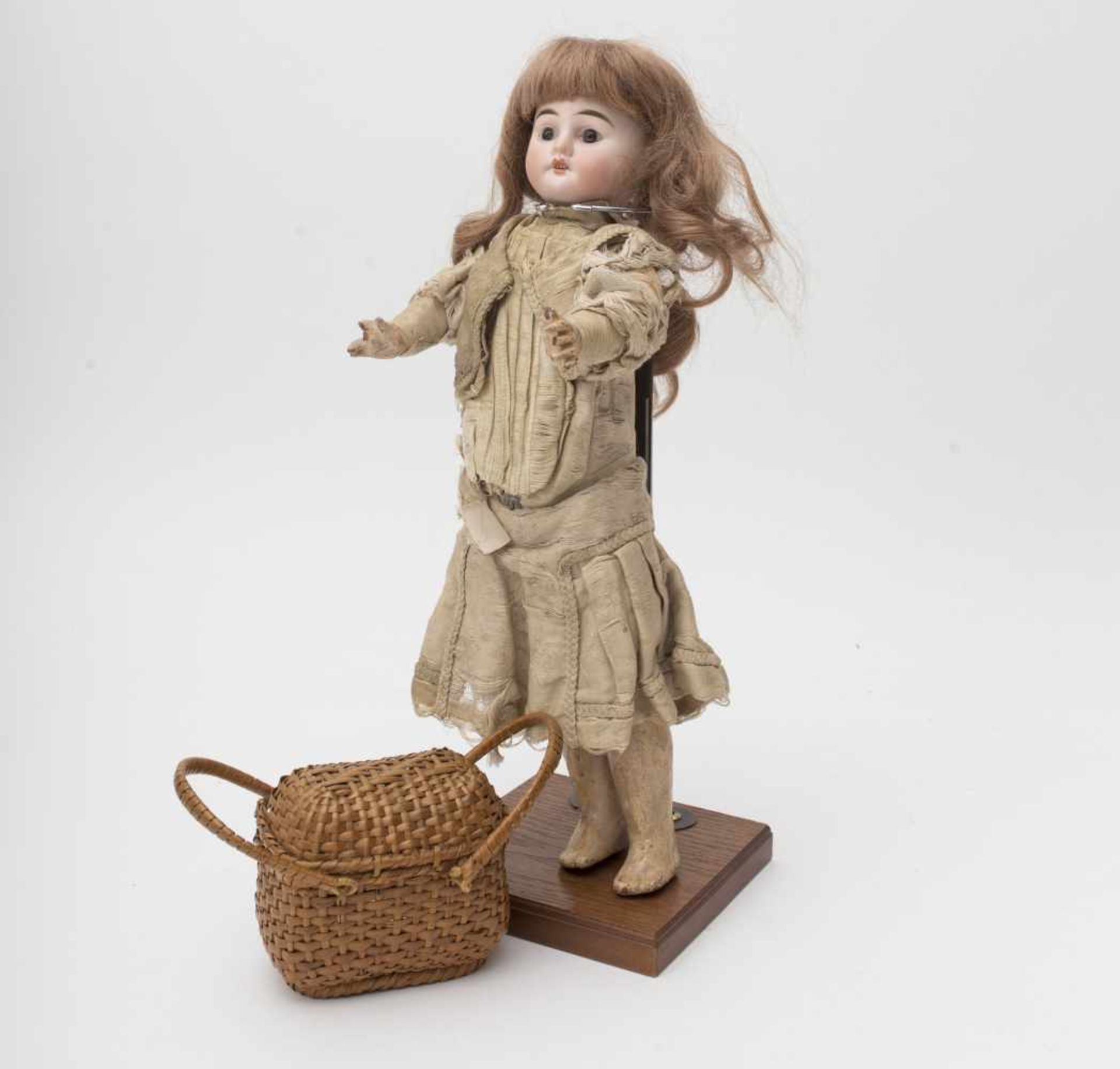"""FLEISCHMANN doll Biscuit head, open mouth, branded """"2/0"""", fixed brown eyes, straight body (damage to"""