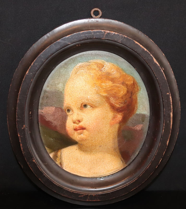 Lot 94 - 18thC Painting On Oval Panel, Depicting A Cherubs Head, Pencil Inscriptions To
