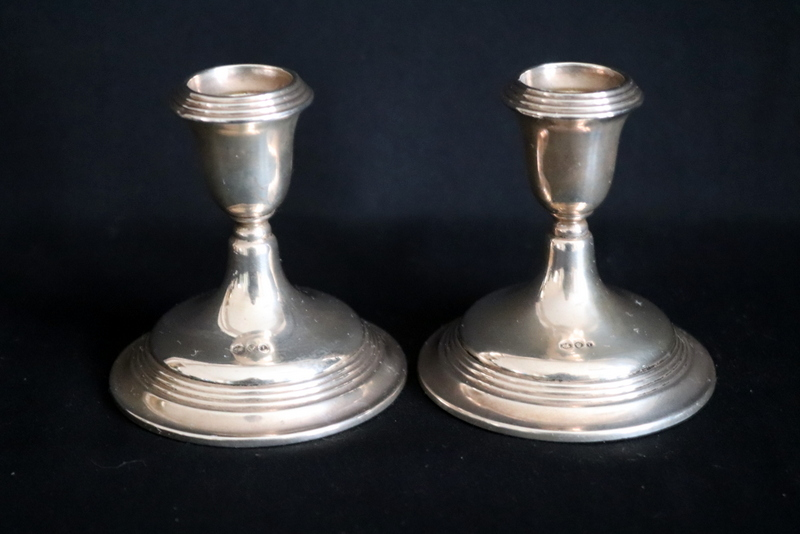 Lot 182 - Two Silver Candle Holders, Height 3.5 Inches