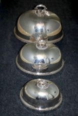 Lot 183 - Elkington & Co Set Of 3 Victorian Silver Plated Meat Covers Of Plain Form With Moulded Edge, Largest