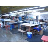 """Tables with Stools. Lot: (3) Tables (1) 10' x 4' x 3', (1) 10' x 4' x 33"""", (1) 105"""" x 4' x 4',"""