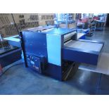 "Fusing Press Machine. Glenro Fusing Press Machine, approx. 2' x 30""W Infeed Belt and Outfeed Belt."