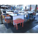 Small Tables with Stools. Lot: (4) 4' x 4' x 3' Tables with Stools and (4) Red Tables. HIT# 2174257.