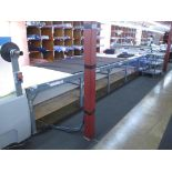 """Fabric Cutting Table with Rollers. Fabric Cutting Table (28' x 67""""W) with (2) Mobile Fabric Rollers,"""