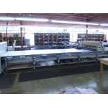 """Fabric Cutting Table with Rollers. Fabric Cutting Table (47' x 67""""W) with (2) Mobile Fabric Rollers,"""