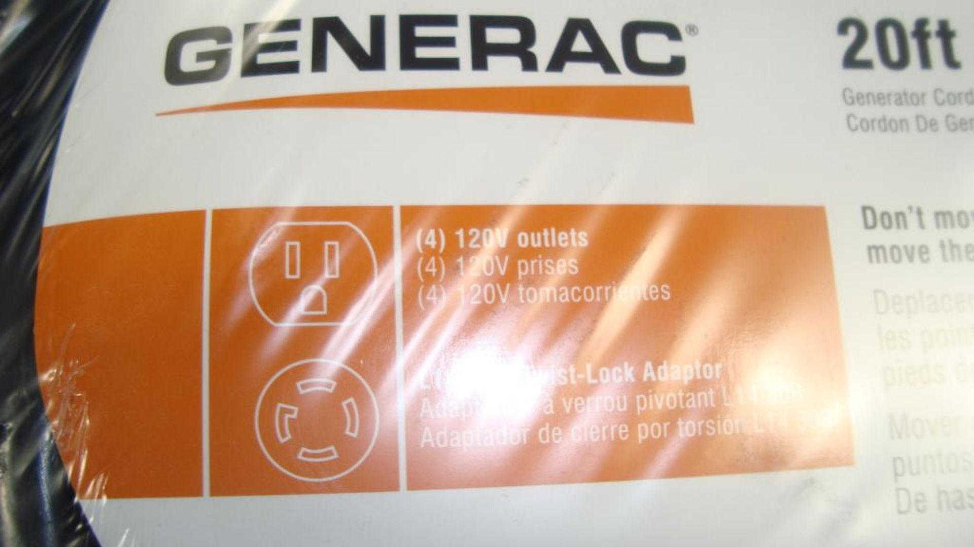 Extension Cords. Lot: 90 Total (45 Boxes - 2 ea.) Generac pn# 0061121-1 20ft, 30A Power Distribution - Image 3 of 8