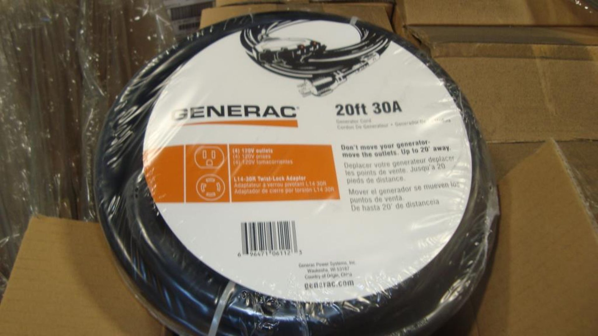 Extension Cords. Lot: 90 Total (45 Boxes - 2 ea.) Generac pn# 0061121-1 20ft, 30A Power Distribution - Image 2 of 8