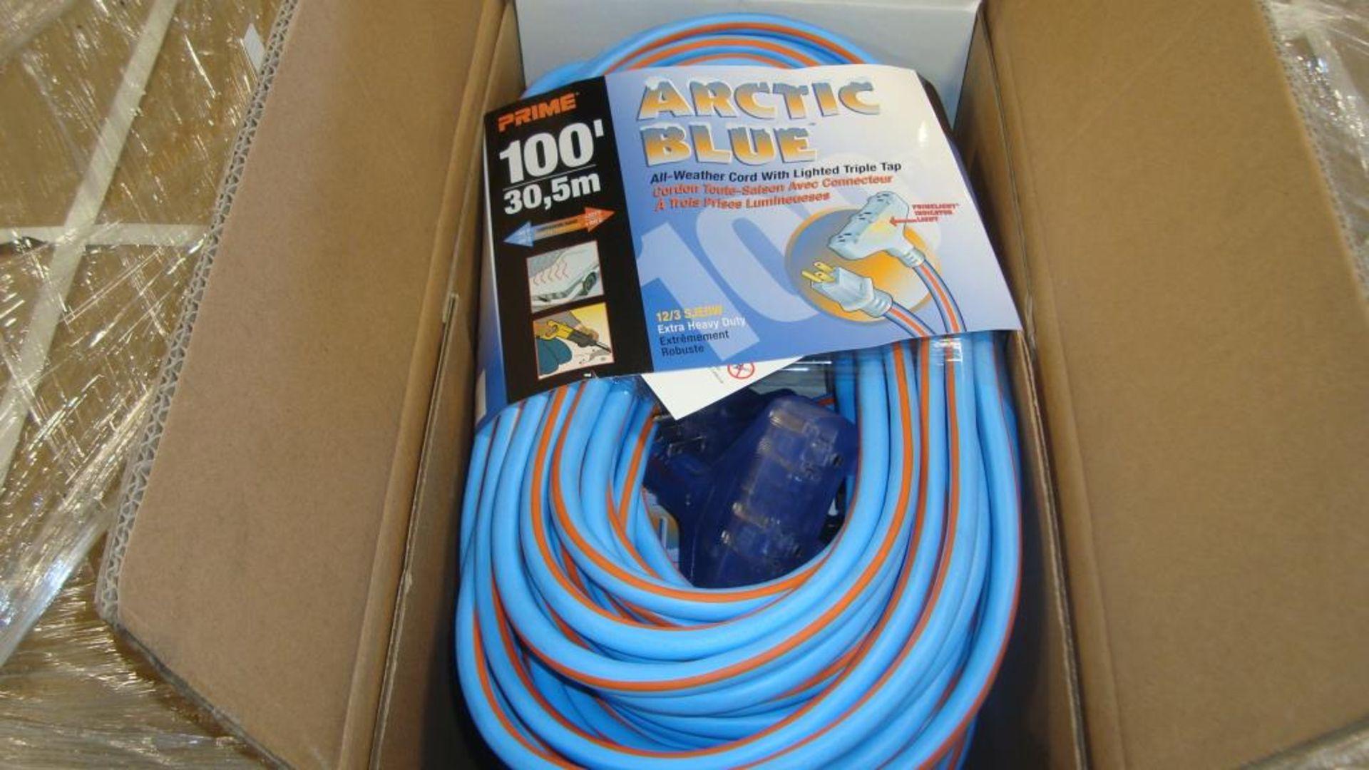 Extension Cords. Lot: 90 Total (30 Boxes - 3 ea.) Prime Wire & Cable pn# LT630835 Arctic Blue 100