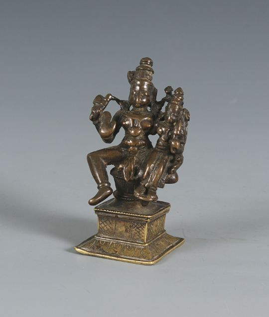 A Bronze Statuette Of Shiva And Parvati Tamil Nadu South India