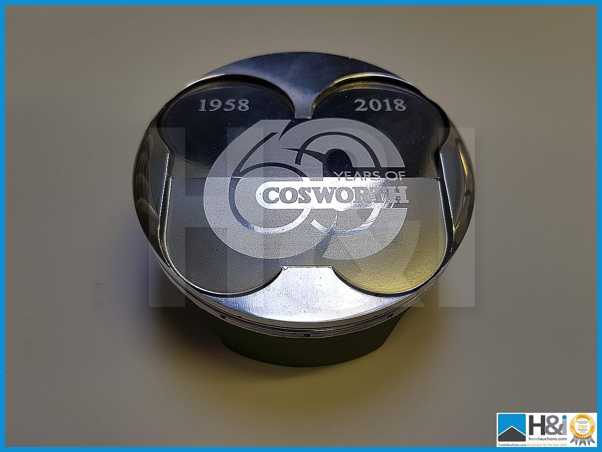 Lot 10 - Exclusive commemorative Cosworth laser etched 60th anniverary piston. This is one of only five made