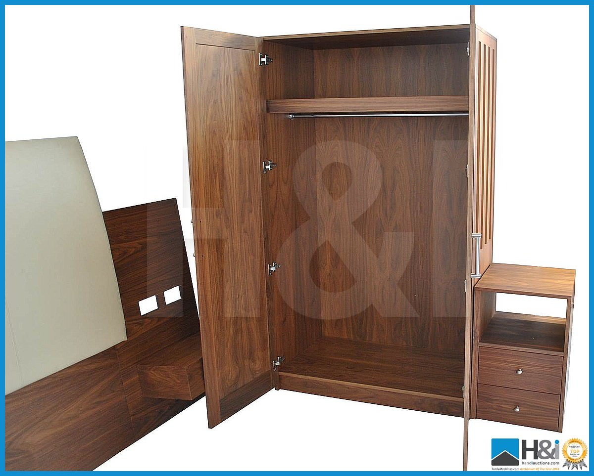 Lot 12 - Stunning black walnut bedroom furniture set comprising: 2-door wardrobe - H 193cm x W 110cm