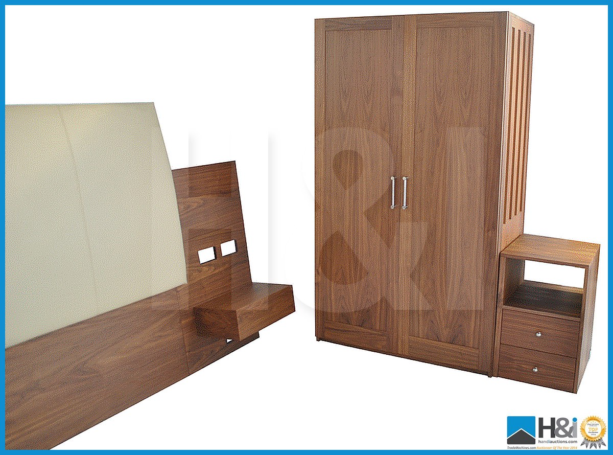 Lot 29 - Stunning black walnut bedroom furniture set comprising: 2-door wardrobe - H 193cm x W 110cm