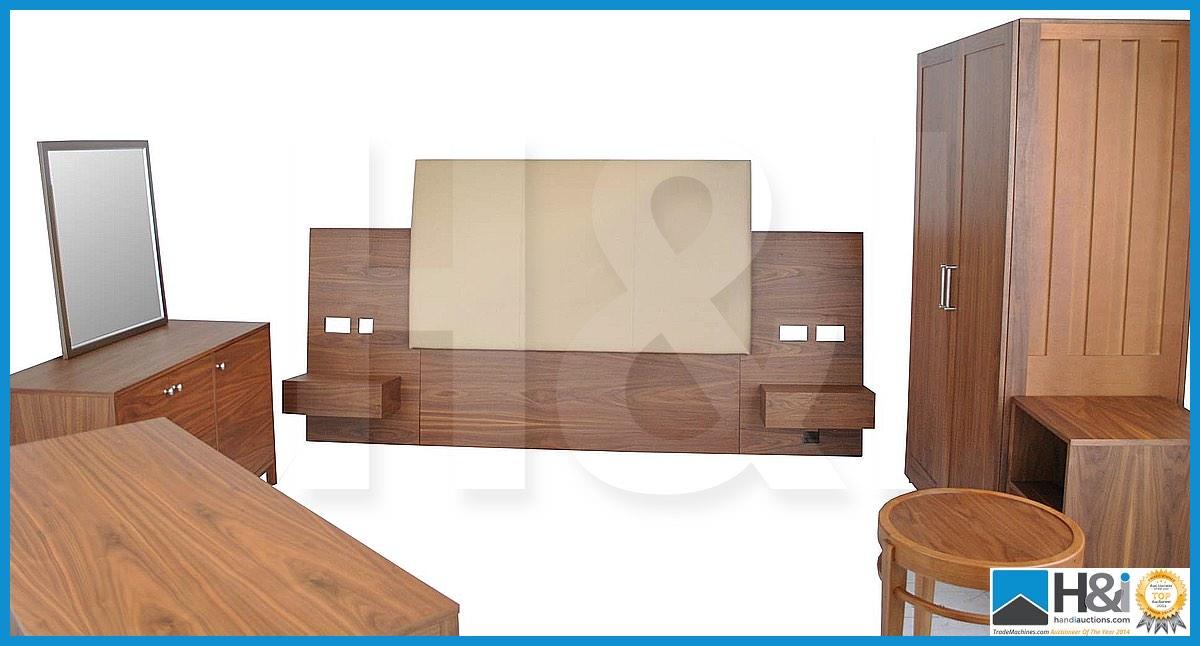 Lot 6 - Stunning black walnut bedroom furniture set comprising: 2-door wardrobe - H 193cm x W 110cm