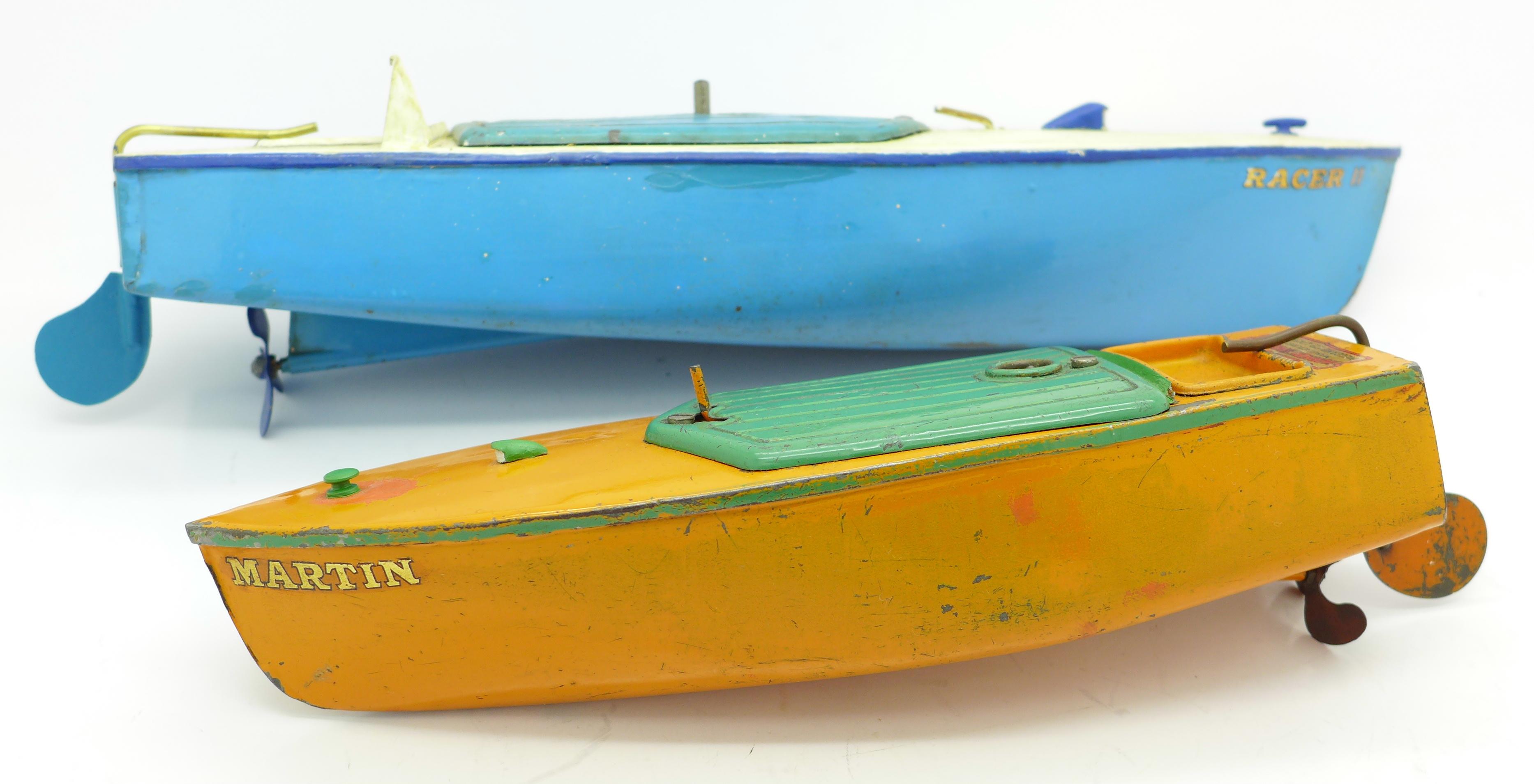 Lot 624 - Two Hornby pre-war speedboats,