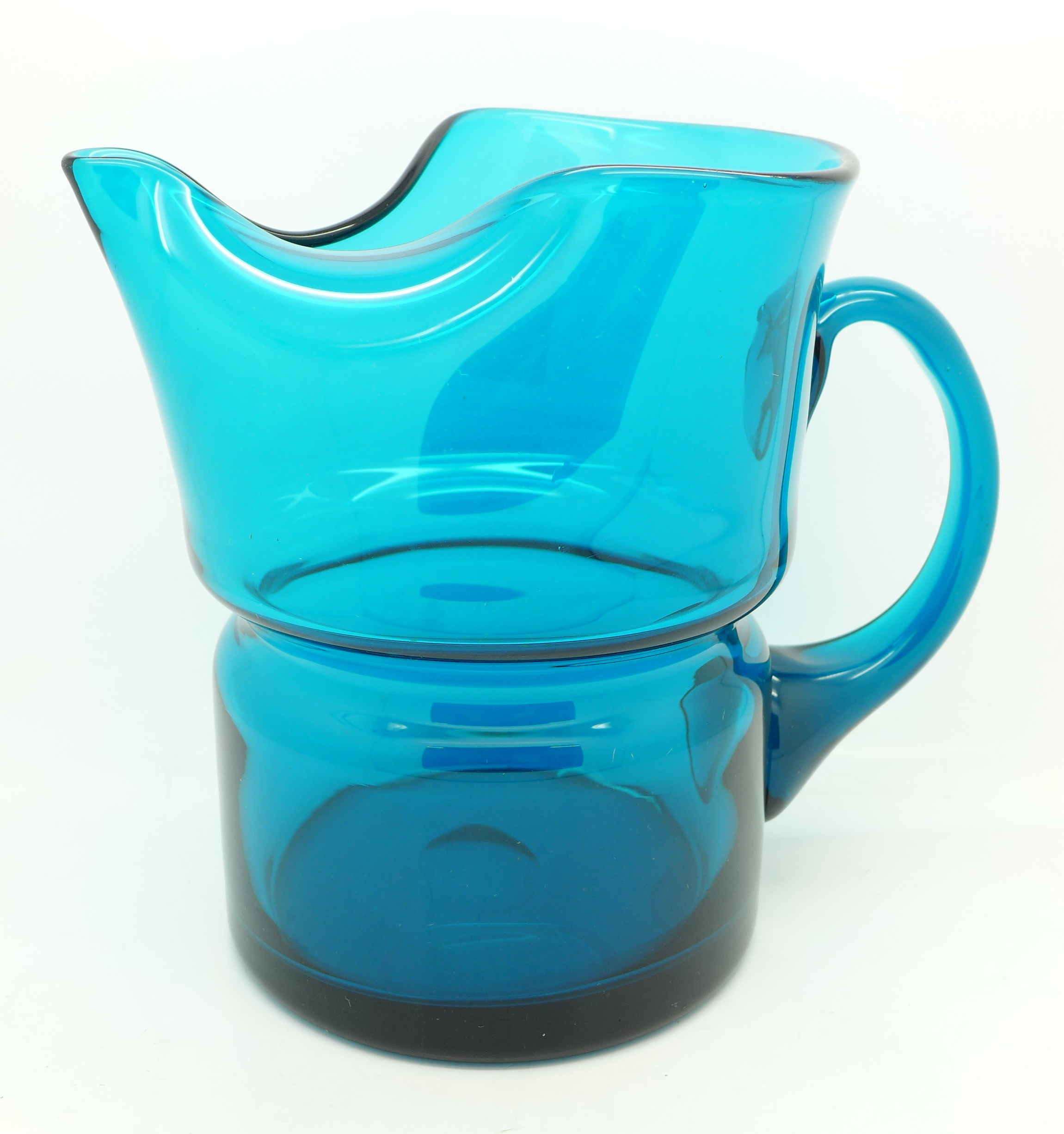 Lot 640F - A Whitefriars blue glass jug