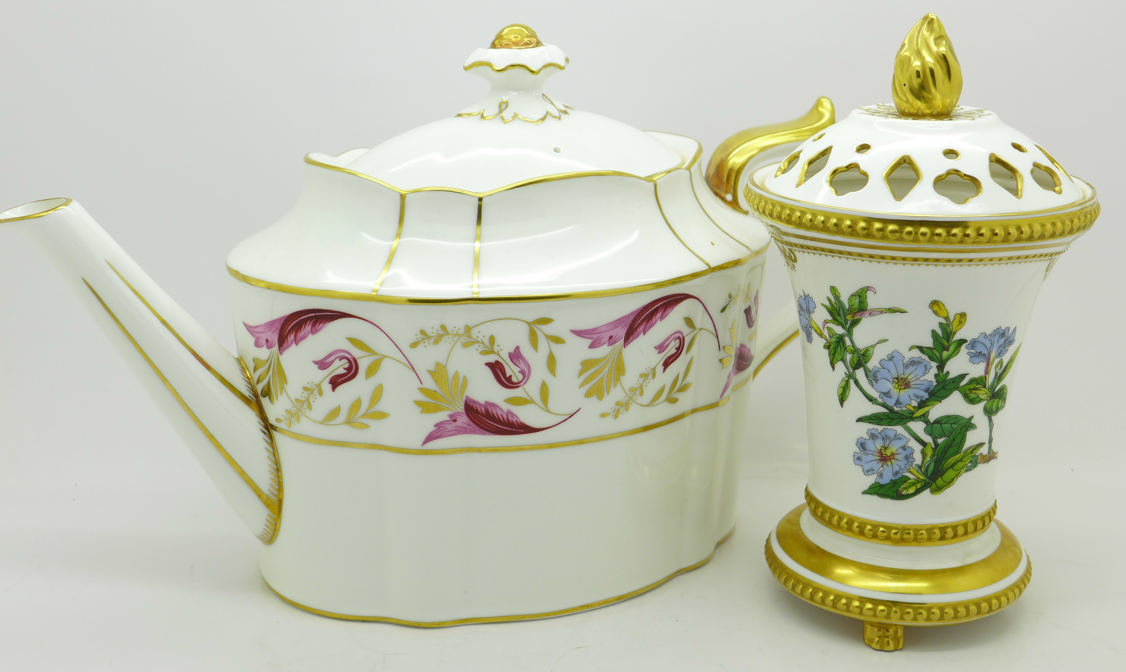 Lot 610 - A Royal Crown Derby 'Princess' tea pot, A1281, second and a Spode pot pourri, Dipteracanthus,