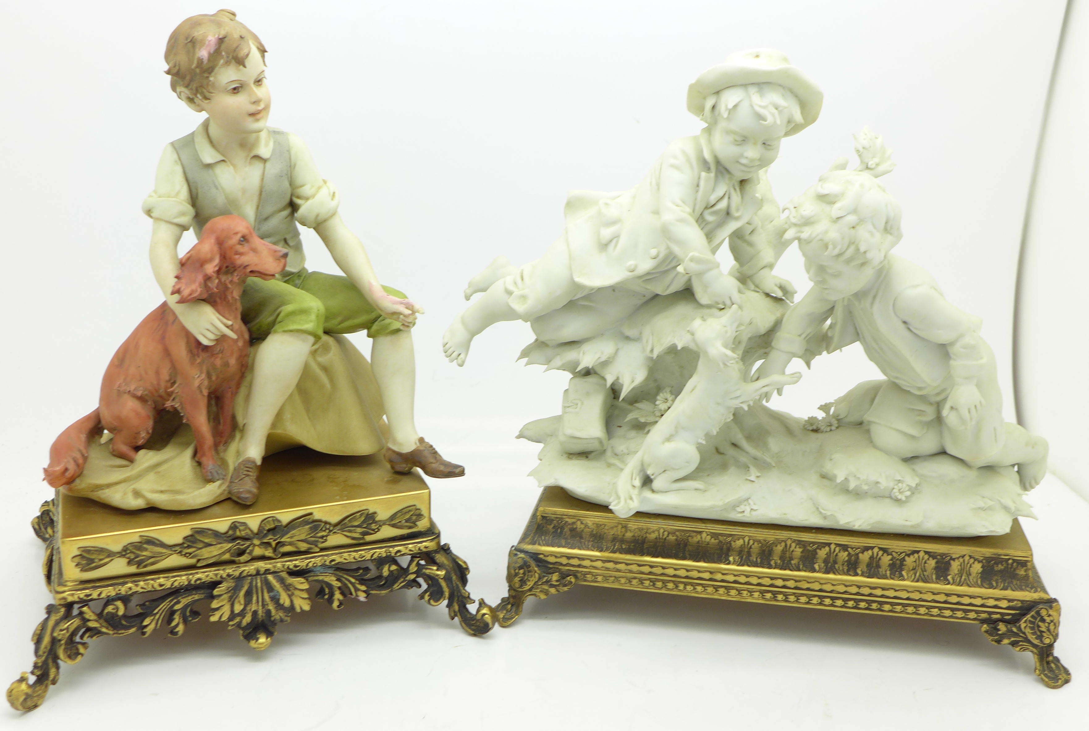 Lot 640G - Two continental figure groups, both marked Triade, Benachio,