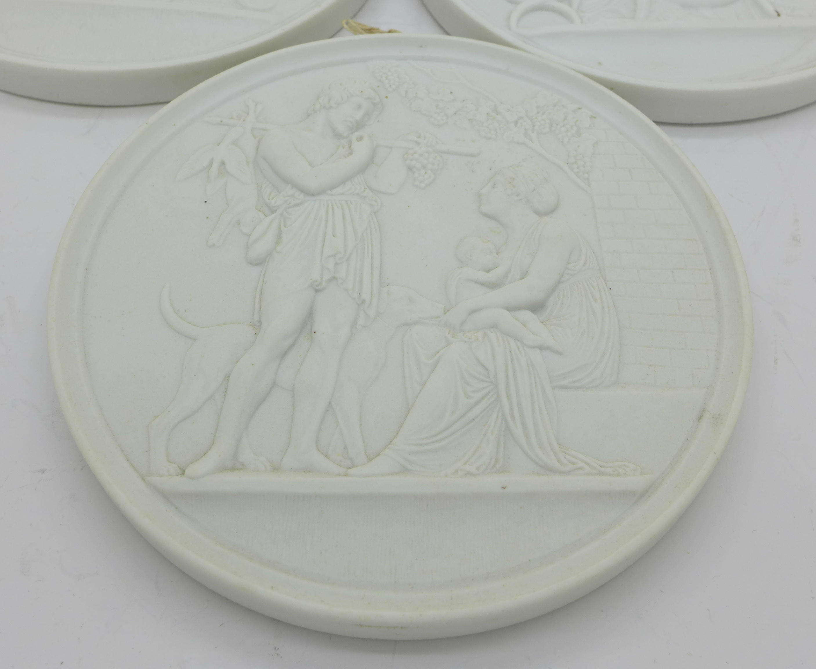 Lot 615 - Three circular plaques, B & G impressed mark,