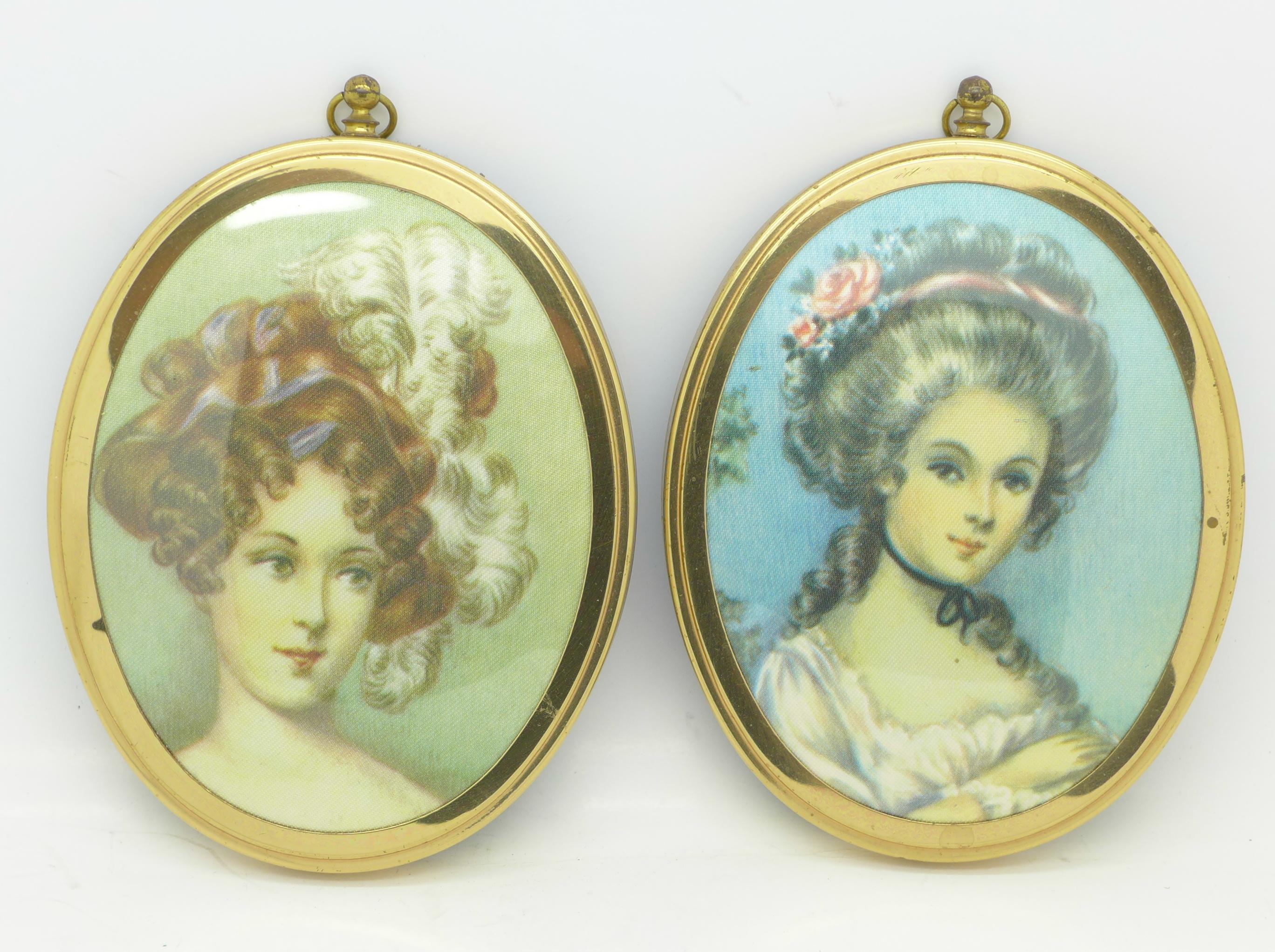 Lot 607 - Two oval portrait prints,