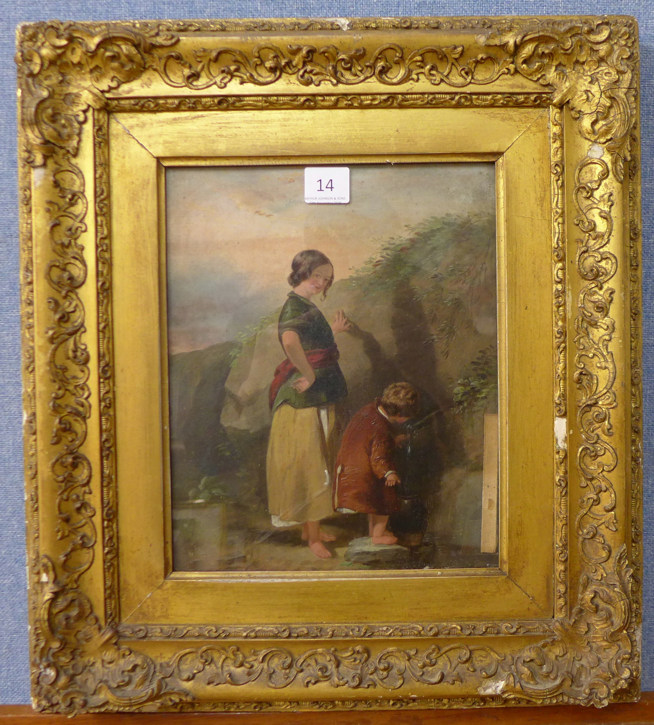 Lot 14 - English School, mother and child, oil on canvas, 27 x 22cms,