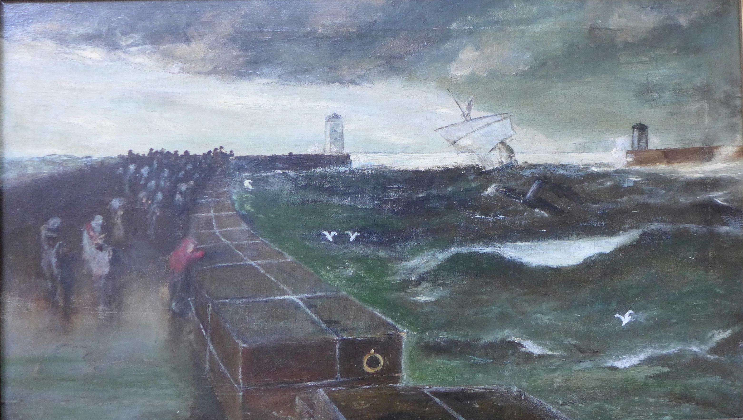 Lot 5 - English School, After Three Days Gale, Hartlepool Harbour, oil on canvas, 35 x 60cms,