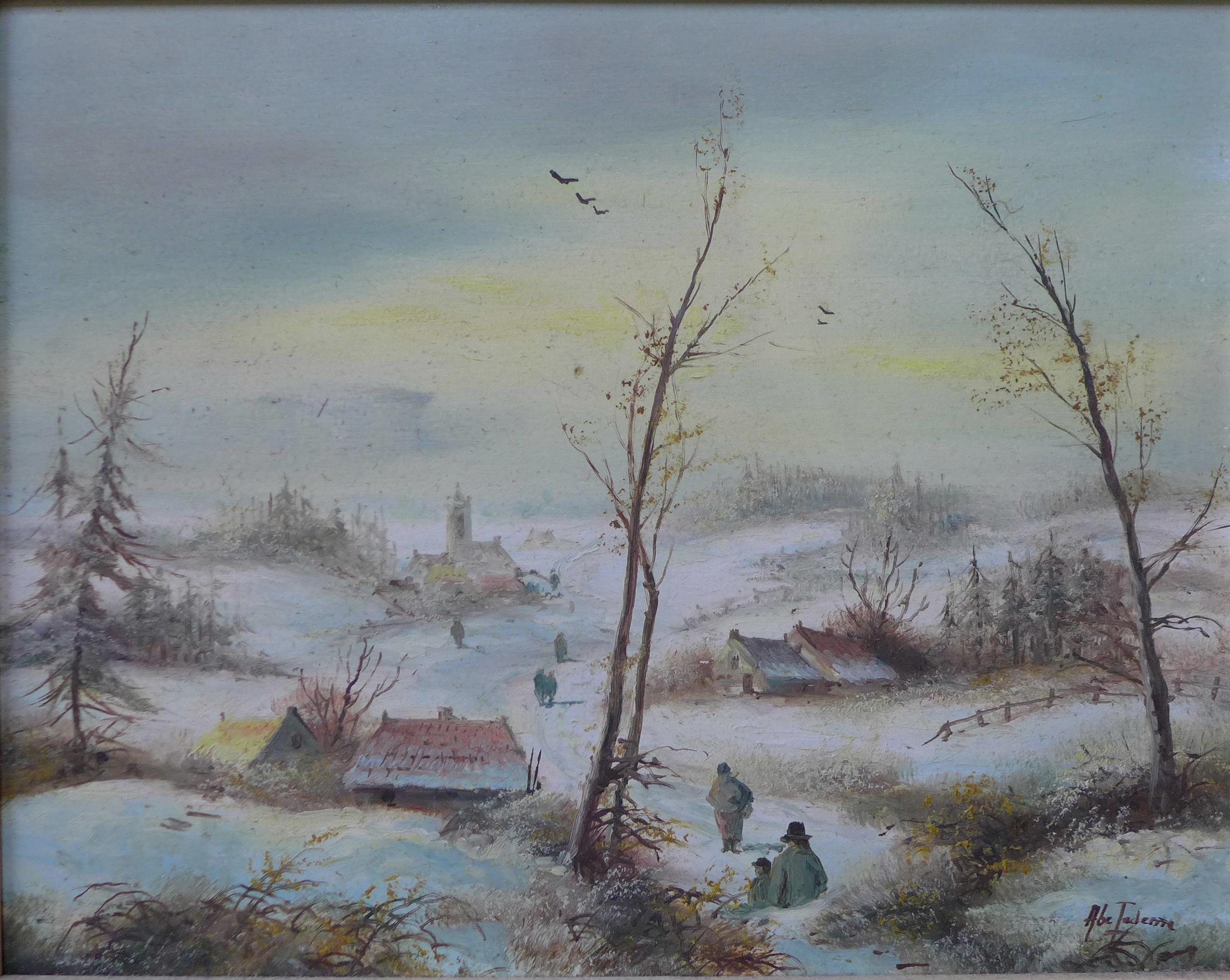 Lot 20 - Abe Tadema, set of three winter landscapes, oil on board, 19 x24cms,