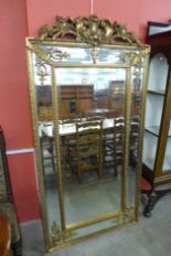 Lot 33 - A large French style crested gilt framed mirror, 185 x 92cms,
