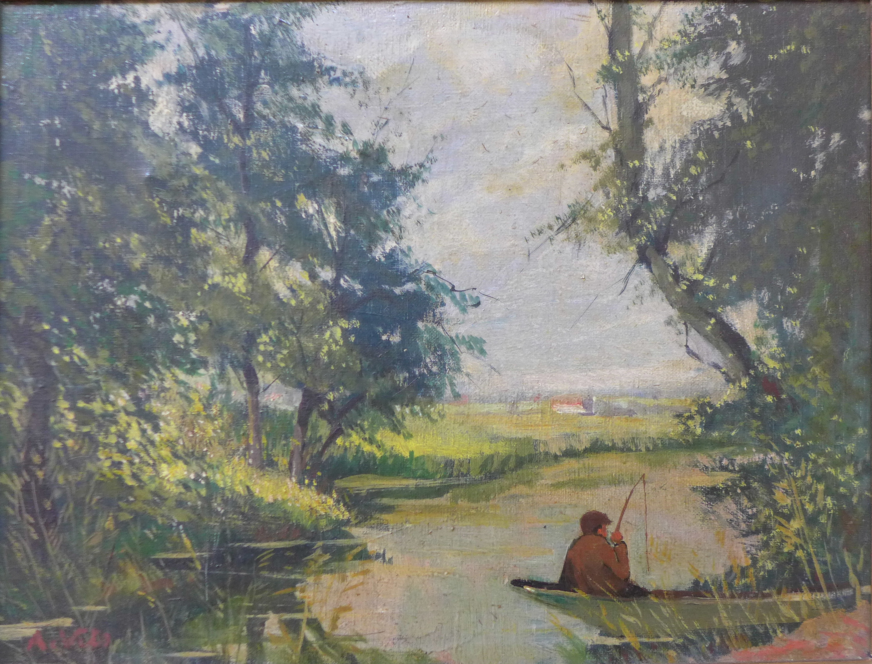 Lot 18 - Two continental school oil paintings, landscapes,