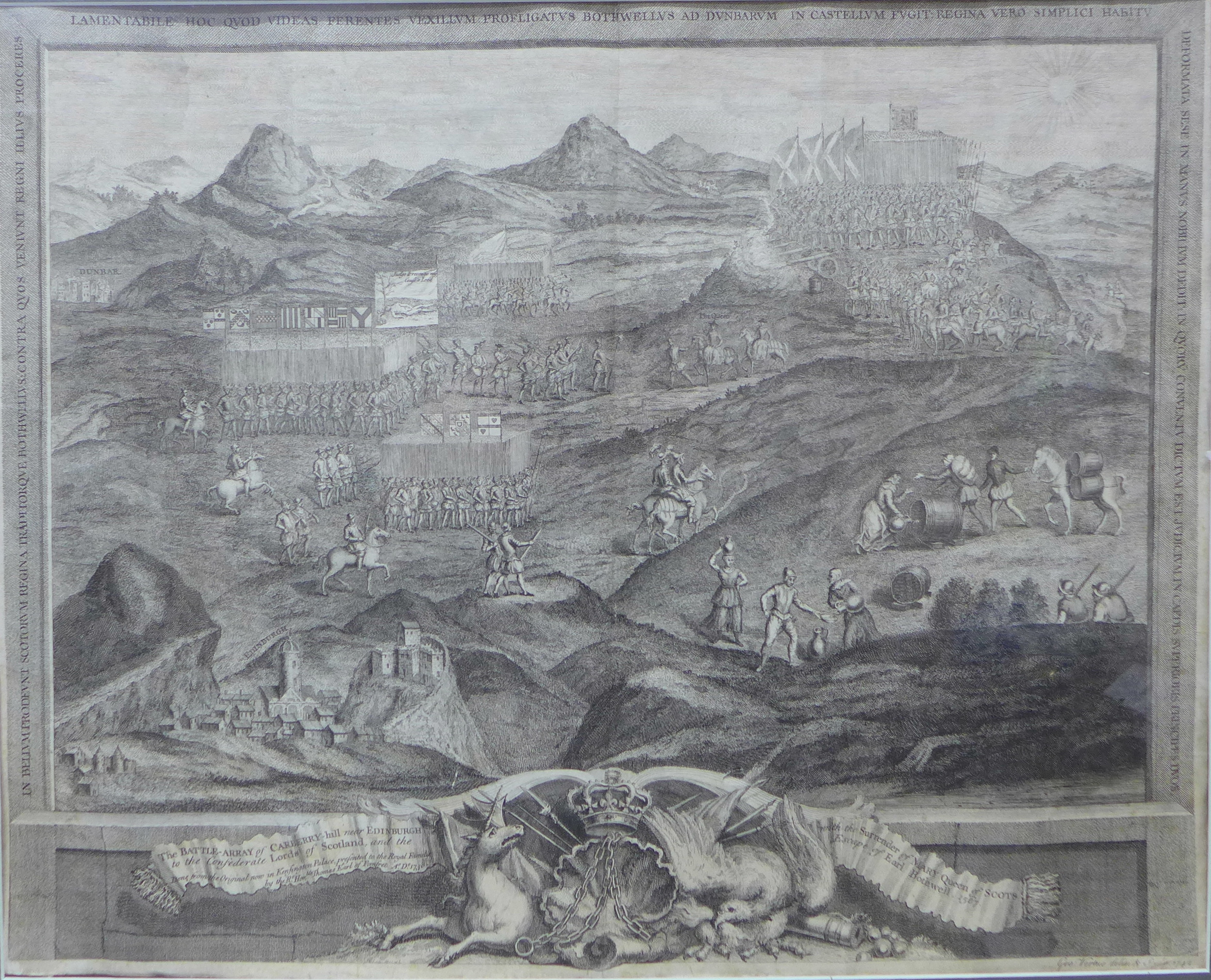 Lot 20A - A George Virtue (1684 - 1756) engraving, The Battle-Affray of Curberry Hill, Near Edinburgh,