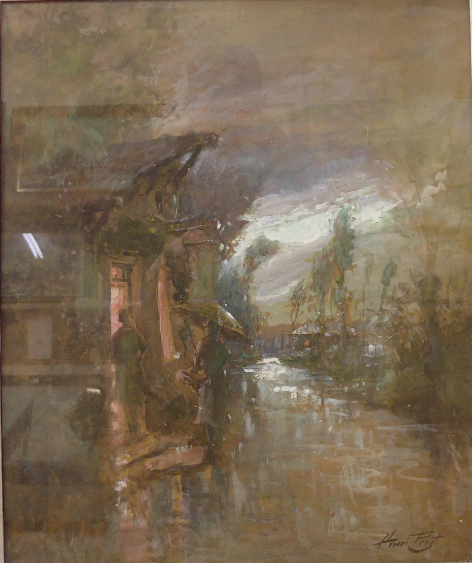 Lot 6A - Henri Prost, rainy landscape, watercolour and gouache, 55 x 45cms,