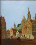 Lot 9 - Dutch School, town scene, oil on panel, 32 x 25cms,