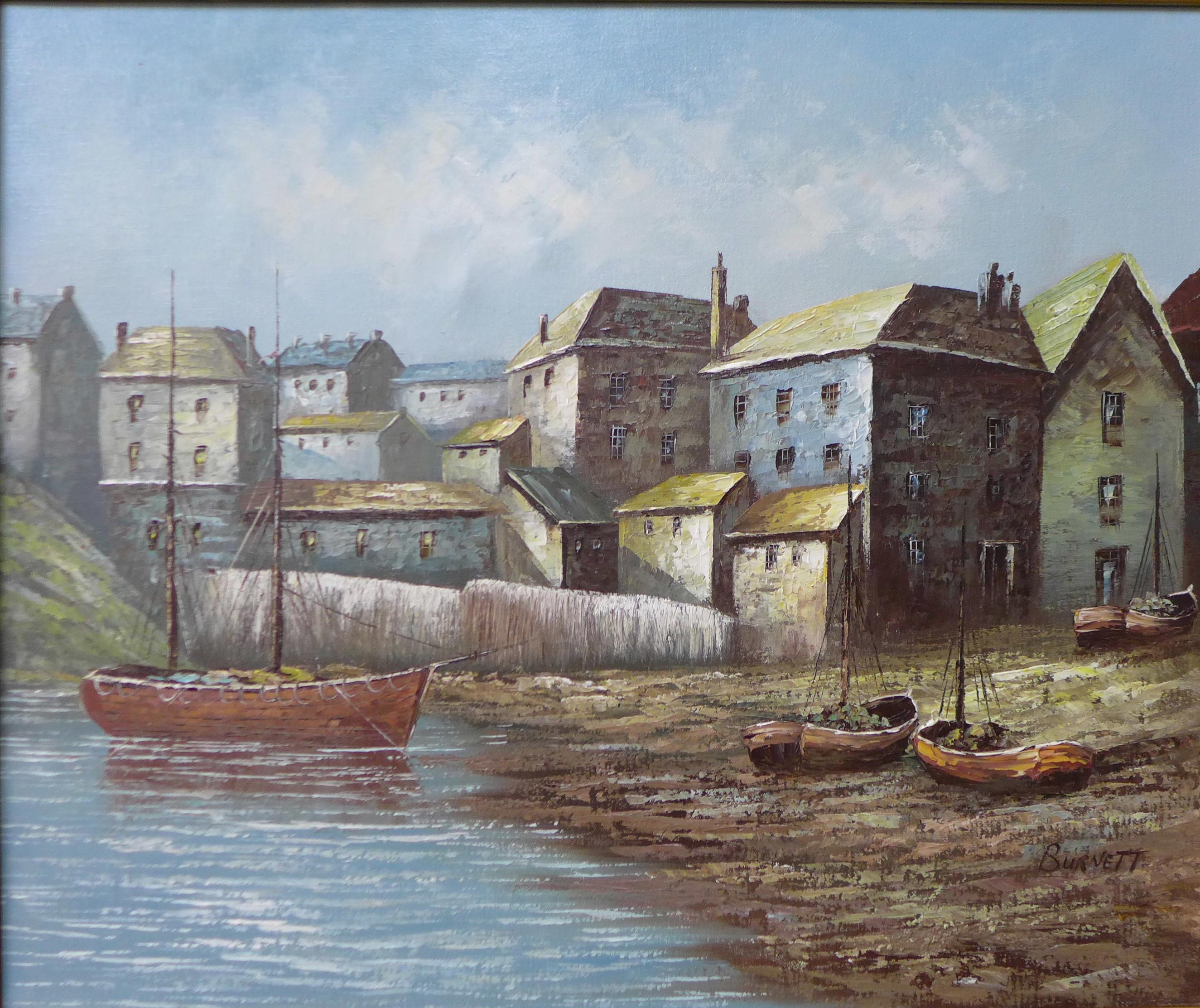 Lot 3 - * Burnett, harbour landscape, oil on canvas, 50 x 60cms,